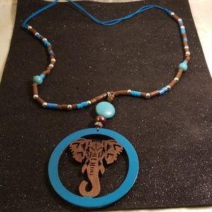 Jewelry - Wood laser cut Elephant charm necklace